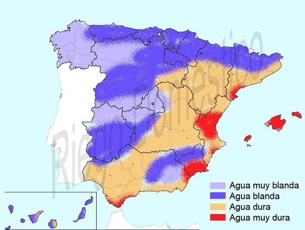 mapa espana dureza agua